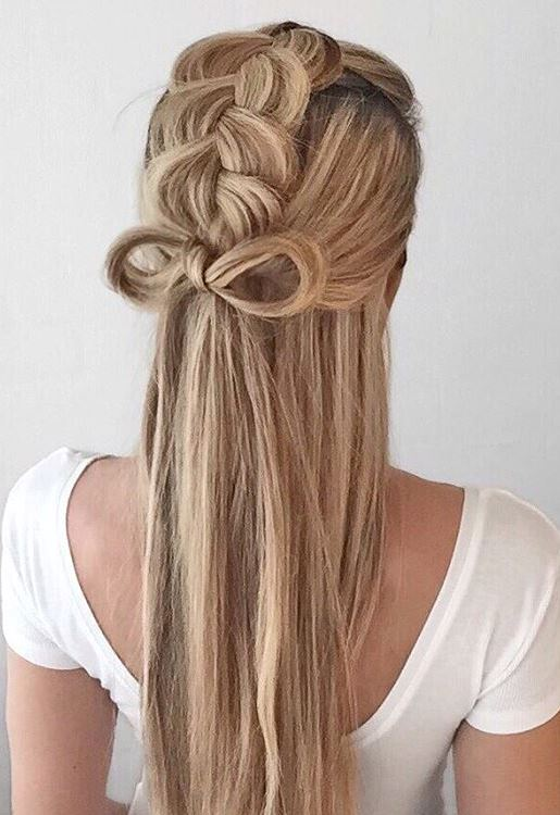 Half up Dutch Braid with a bow