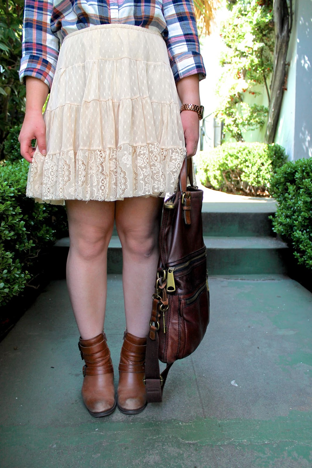 plaid-shirt-lace-skirt-and-ankle-booties