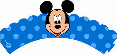 Mickey en Azul y Rojo: Wrappers y Toppers para Cupcakes para Imprimir Gratis.