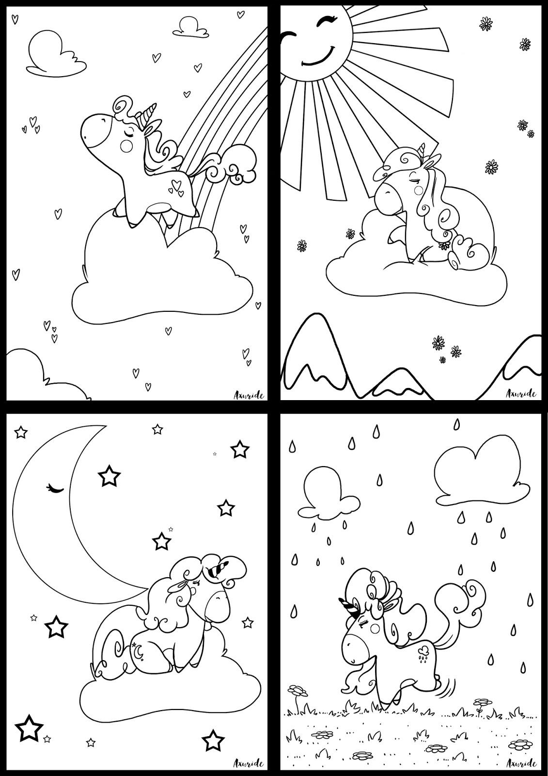 Coloriage Licorne Nuage.Axuride S Blog Carte D Anniversaire Licorne