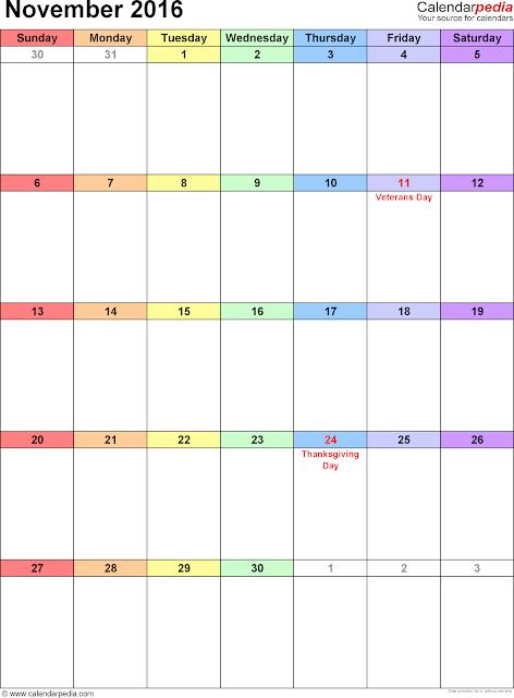 November 2016 Calendar, November 2016 Calendar Landscape, November 2016 Calendar Portrait, November 2016 Calendar A4, November Calendar 2016