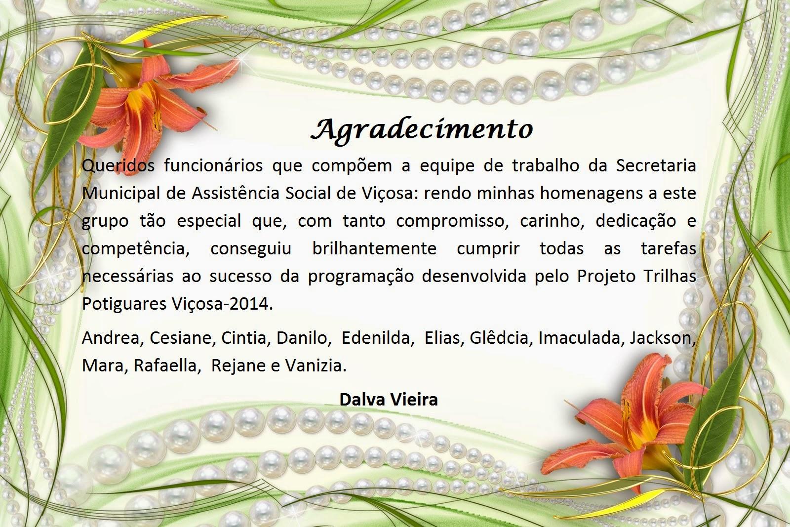 VIÇOSA CLICK : Agradecimento Da Secretária Municipal De