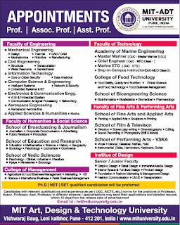 MIT Art, Design and Technology University, Pune Recruitment 2019 Professor/Associate Professor/Assistant Professor Jobs Notification