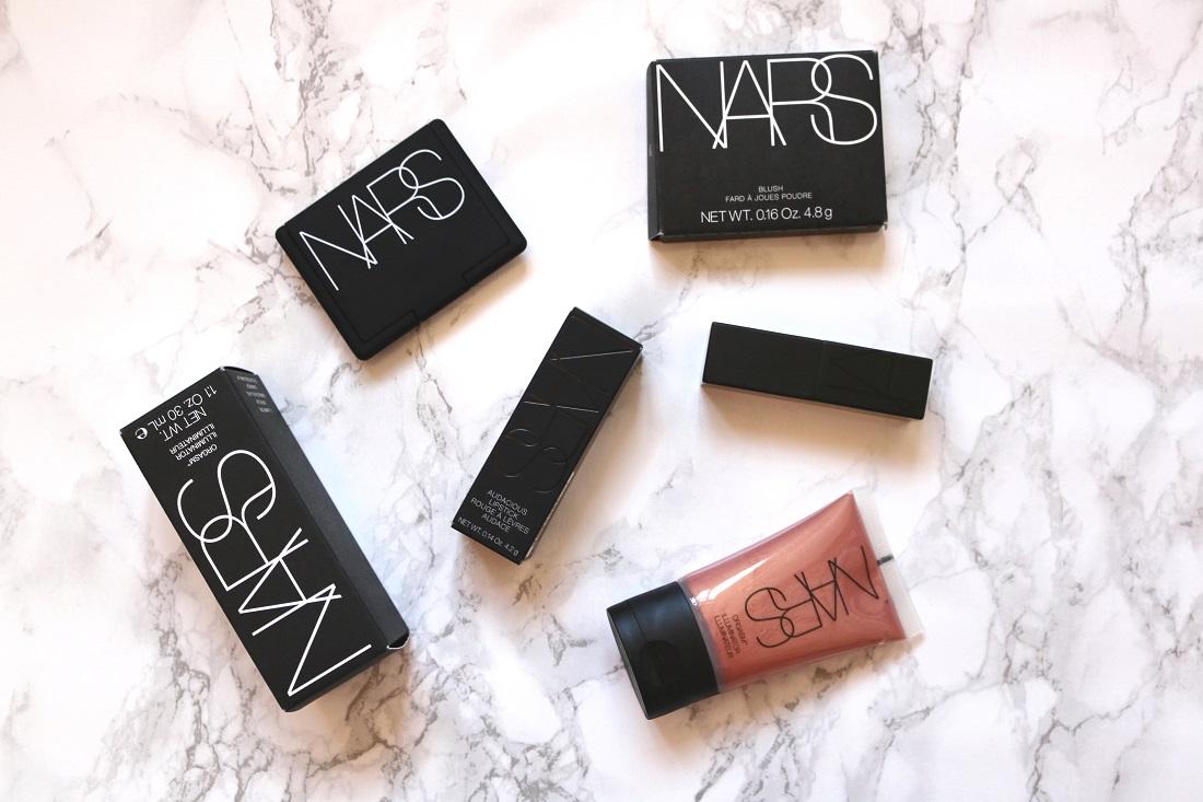 NARS Haul, Audacious Natalie Lipstick, Sin Blush, Orgasm Illuminator
