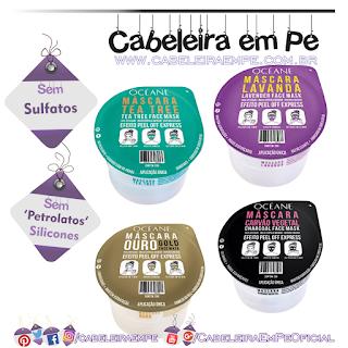 Máscaras Océane (Carvão Vegetal, Ouro, Tea Tree e Lavanda) - Sem Sulfatos, Sem Petrolatos e Sem Silicones