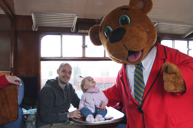 Butlin's express steam train journey with billy the bear from Minehead train stations on the just for tots holiday