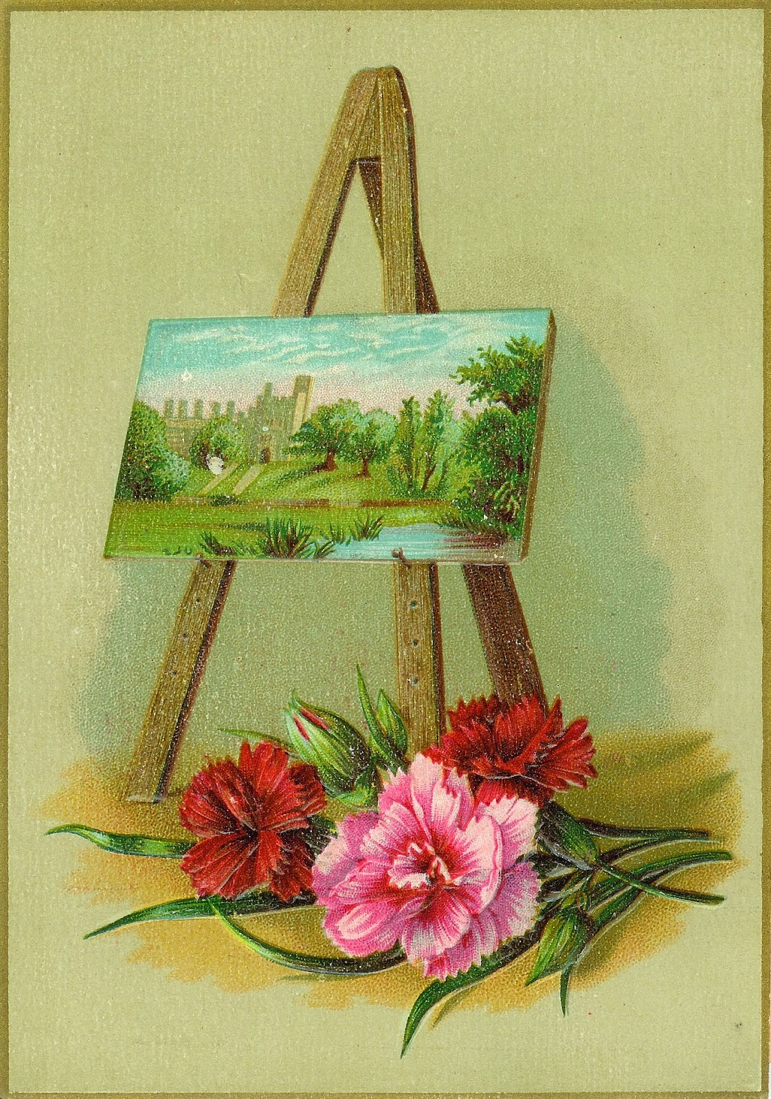 Painting on an easel and pink and red carnations.
