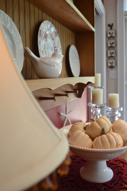 decorate your kitchen for fall with white pumpkins and