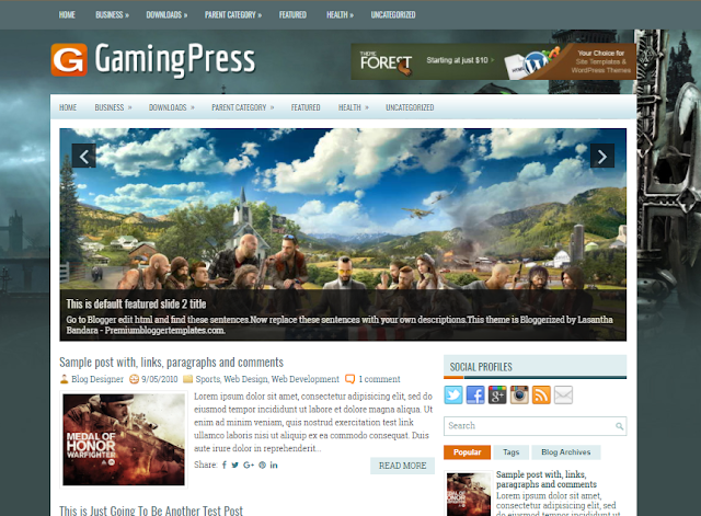 Columns Blogger Template for Game Blogs Free Download GamingPress