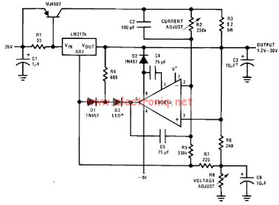 30V Variable Power Supply Using LM317 Circuit Diagram