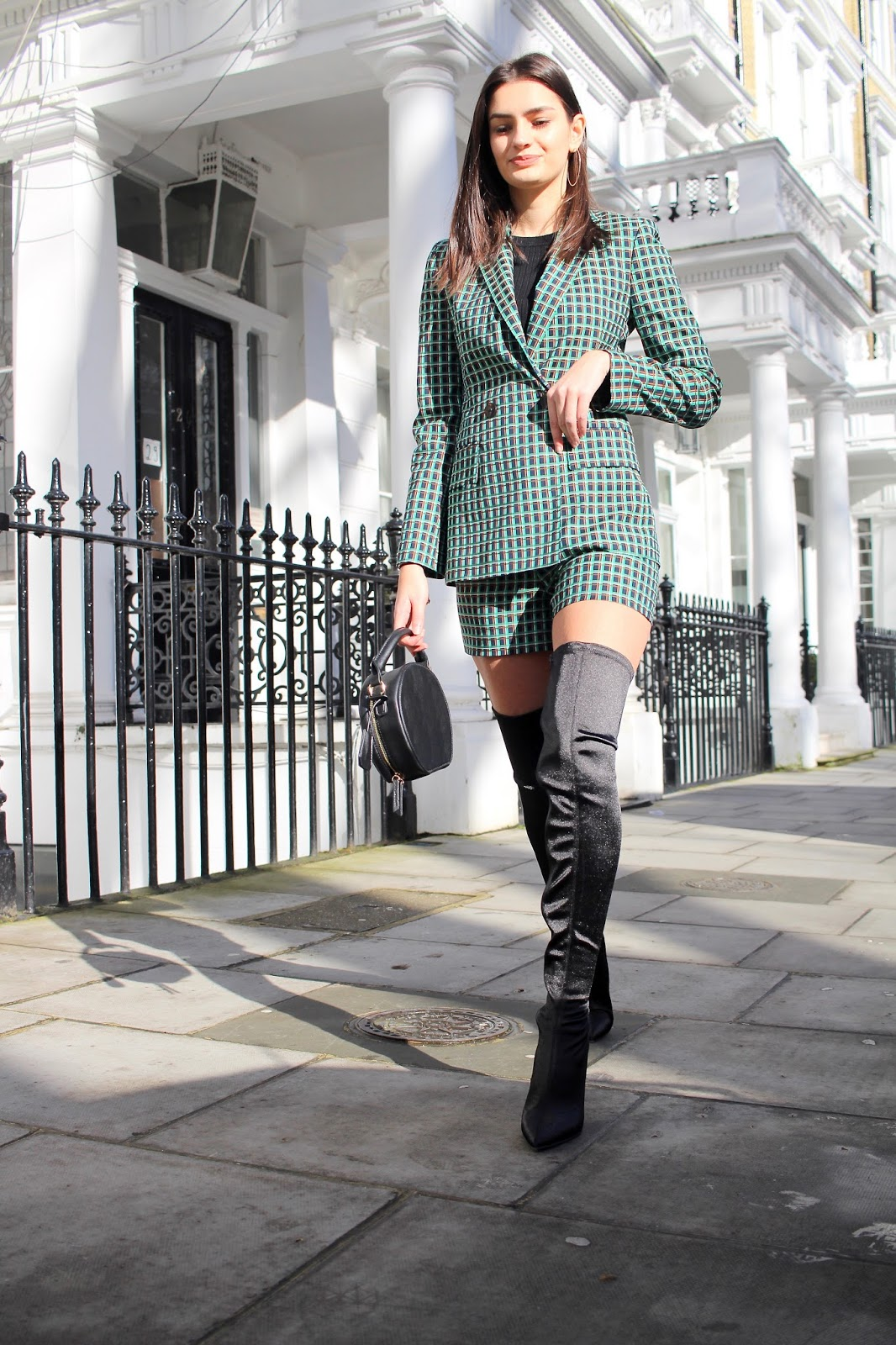 two piece green zara suit peexo blog