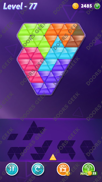 Block! Triangle Puzzle 7 Mania Level 77 Solution, Cheats, Walkthrough for Android, iPhone, iPad and iPod