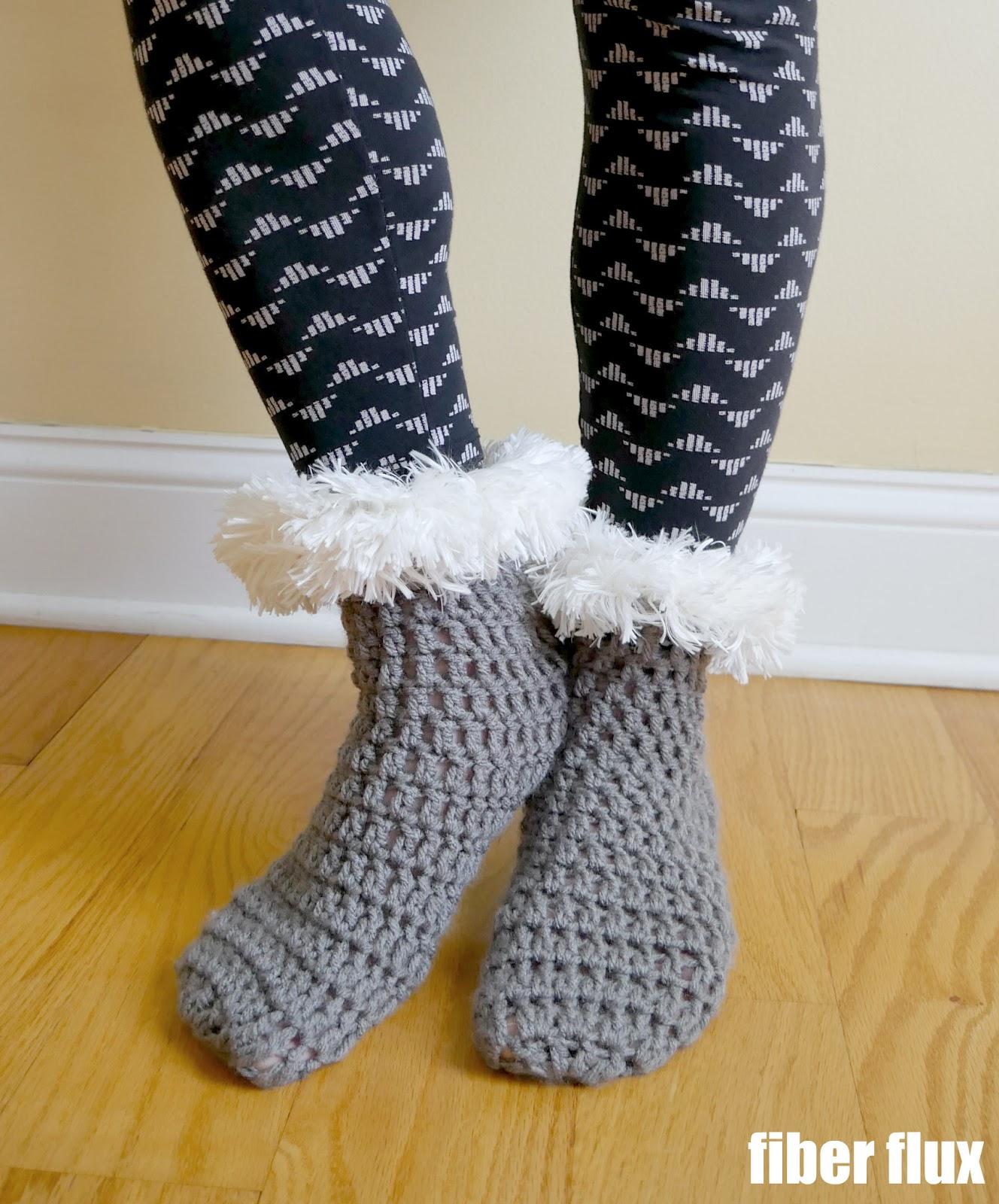 Fiber Flux: Free Crochet Pattern...Winter\'s Warmth Slipper Socks!