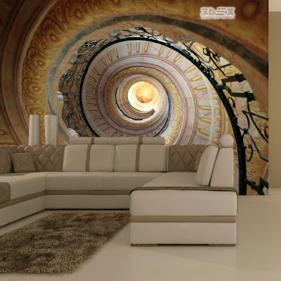 optical illusion with 3D effect wallpaper for living room wall