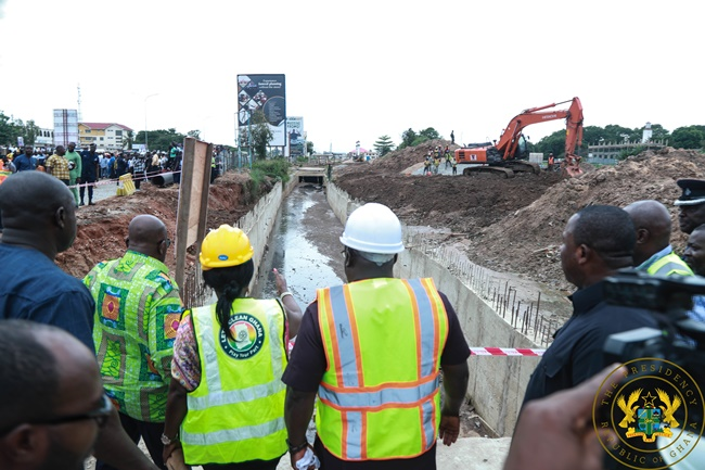 President Akufo-Addo Inspects Odaw River Dredging Works; Kaneshie Storm Drain Construction