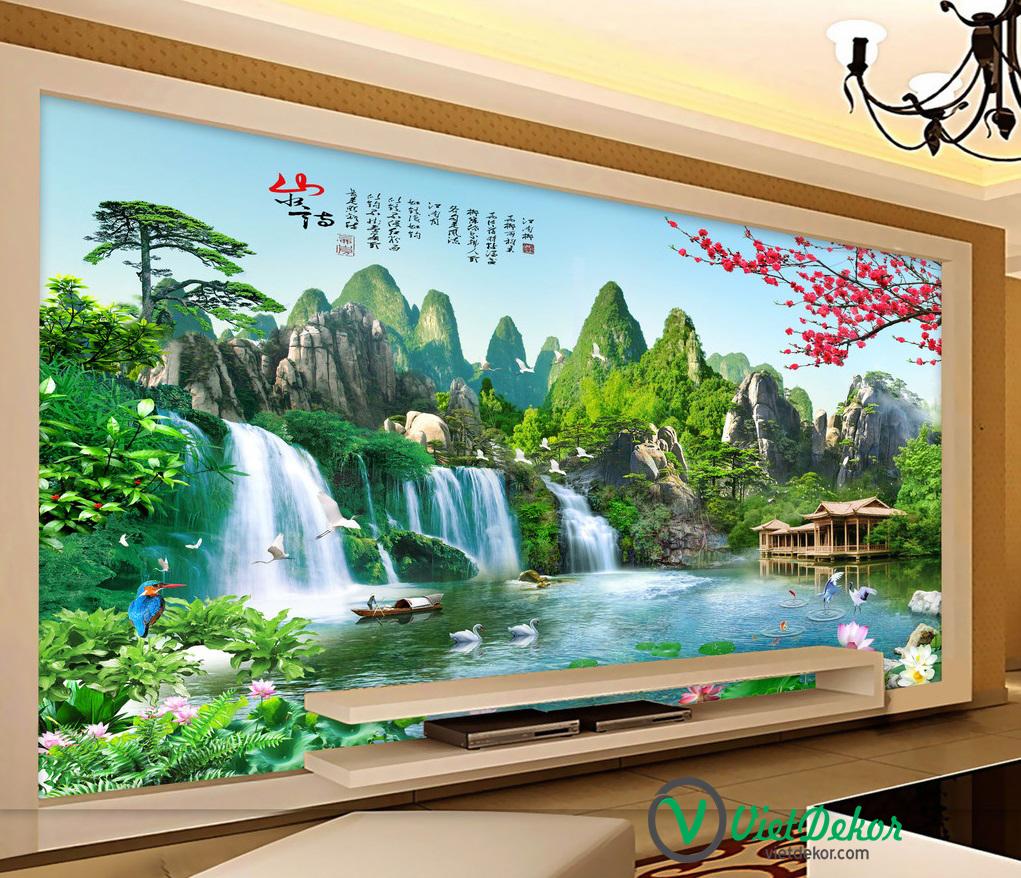 Tranh 3d dán tường phong thủy thác nước cây tùng