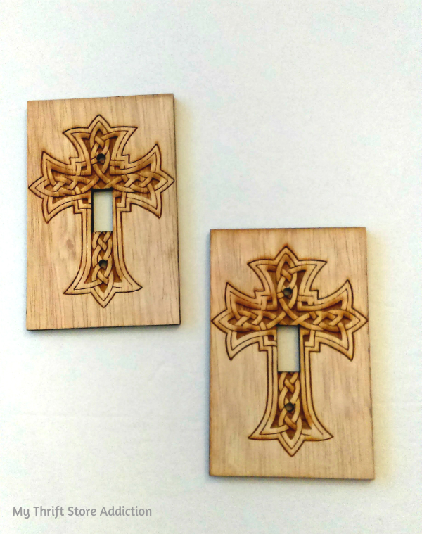 wood burned cross light switch covers