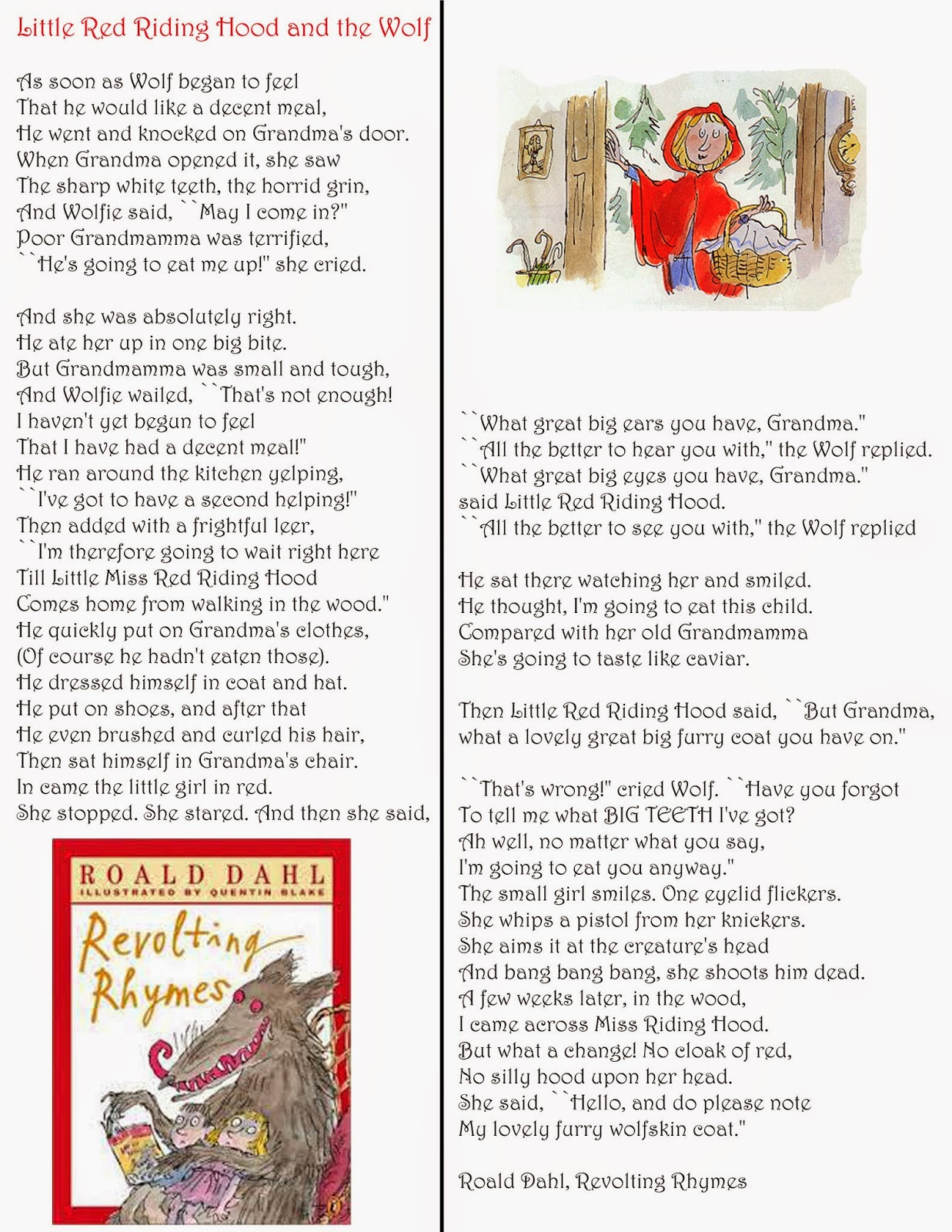 Googoogallery Little Red Riding Hood By Roald Dahl