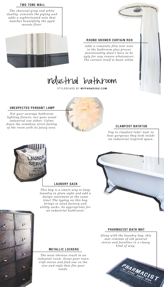 THE ROOM: Industrial bathroom styleboard | My Paradissi