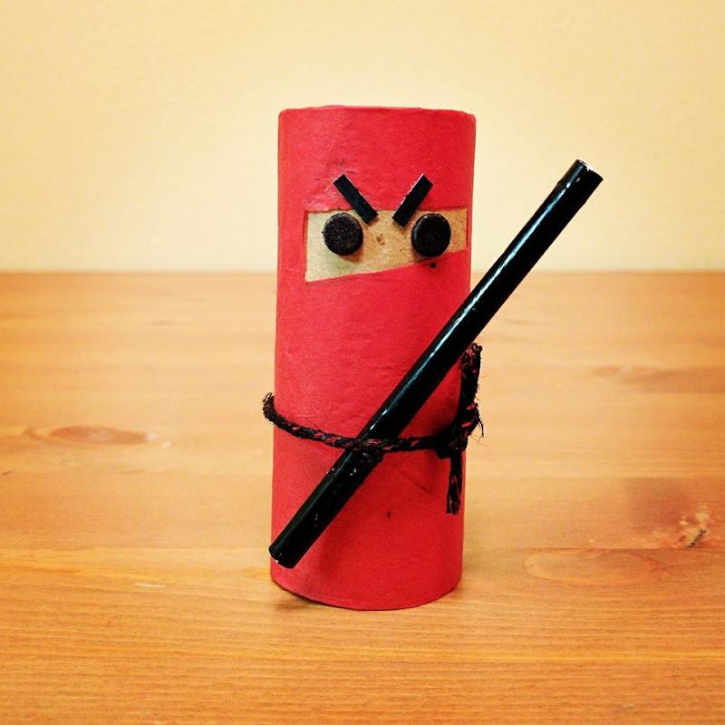 Paper roll craft, toilet paper roll craft, warrior, ninja, straw craft for kids