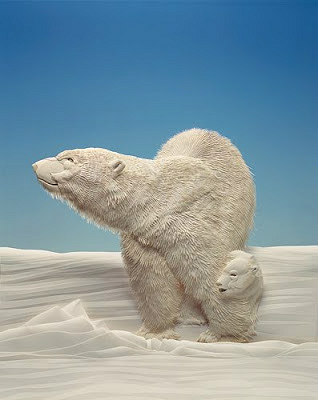 paper sculpture bear and cub on snow