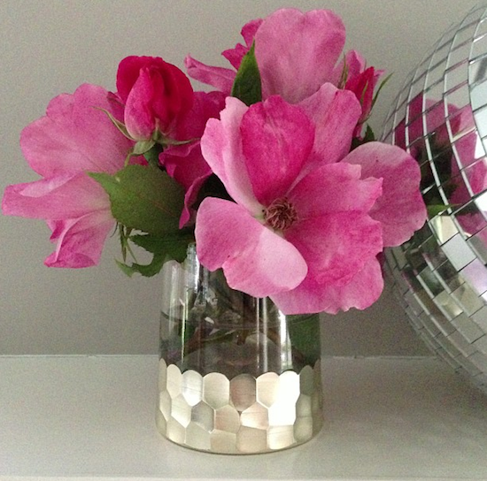 fresh pink garden roses, disco ball, votives, silver