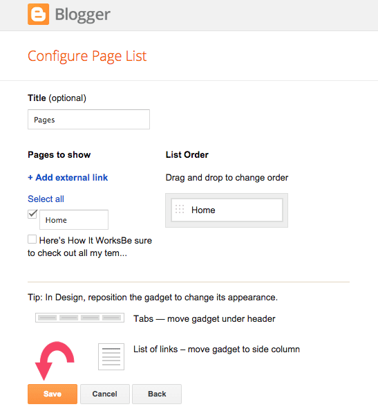 Blogger Tutorial: How to add page tabs