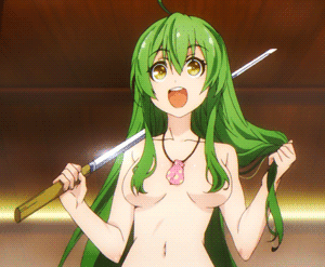 Example of kami-bura 髪ブラ - character Tamaba Satori 眼目 さとり from anime Busou Shoujo Machiavellianism 武装少女マキャヴェリズム