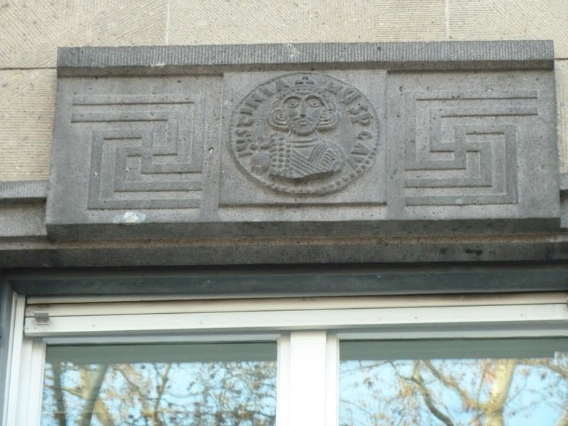Swastika ornaments above the windows in Koblenz Germany