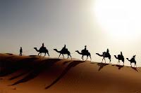 Çölde bir kum tepesi üzerindeki deve kafilesi
