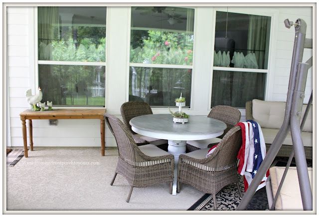 covered back porch-porch design-furniture placement-wicker chairs-pedestal table- from my front porch to yours
