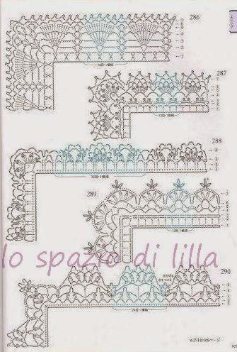 Lo spazio di lilla schemi di bordi crochet con angoli for Pizzi e merletti all uncinetto schemi