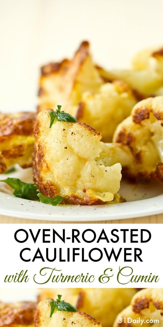 Favorite An easy side dish, Oven Roasted Cauliflower with Turmeric and Cumin is one of my go-to side dish recipes for quick-fix dinners — and delicious taste. All year long. Roasting cauliflower brings such a beautiful, almost nutty flavor to the veggie. It's incredibly easy, yet delivers so much for the effort.