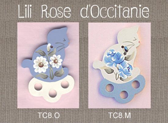 2 tri-fils bois peint, silhouette de chat ornée de fleurs, coloris au choix. Broderie et point de croix