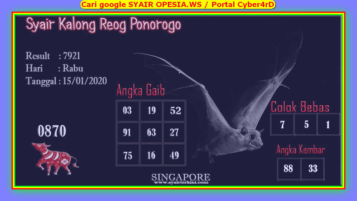 Kode syair Singapore Rabu 15 Januari 2020 64