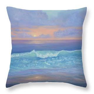 Coastal Home Decor BeachThrow Pillow with Sunset blue and orange