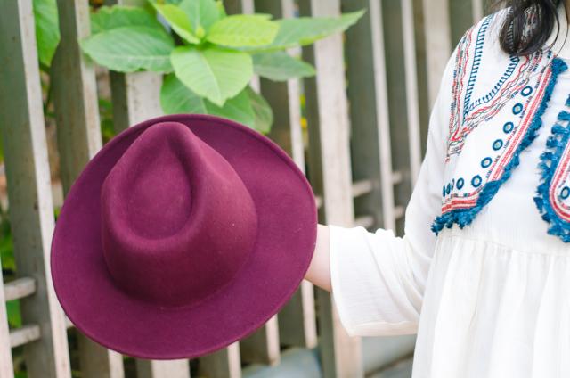 Burgundy Bohemian Fedora Hat
