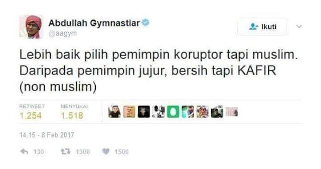"Tanggapan Aa Gym Atas Beredar Tweetnya ""Lebih Baik Pilih Pemimpin Koruptor Tapi Muslim"""