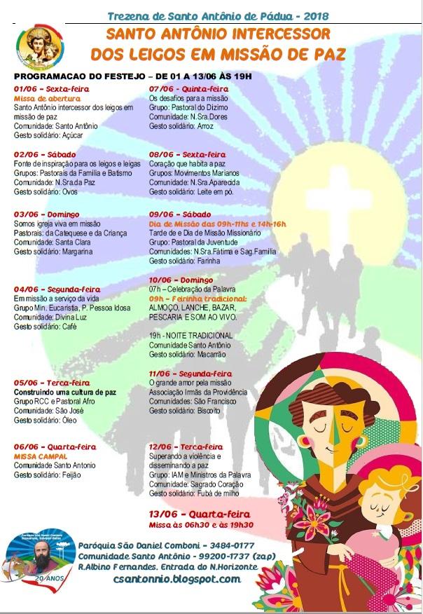 5de68706229 A Comunidade Santo Antônio convida a todos para a Trezena de seu padroeiro