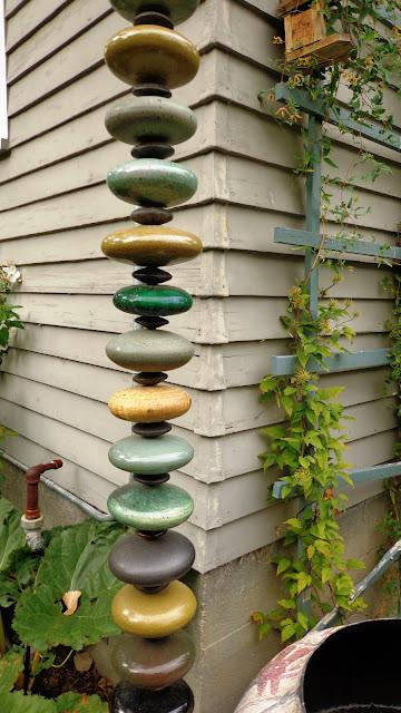 polished stone rain chain