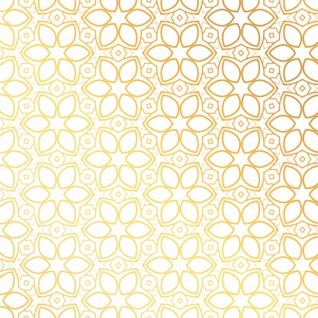 Golden pattern with floral shapes Free Vector