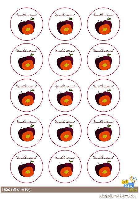 Etiquetas para descargar gratis de mermelada de ciruela roja. Redondas para la tapa