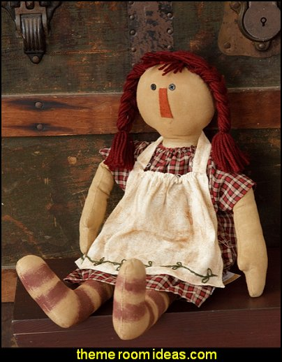 Nellie Doll Decor  primitive decor americana theme decorating primitive americana decorating style - folk art - heartland decor - rustic Americana home decor - Colonial & Country style decorating Americana bedroom designs - Primitive Country Rustic decor