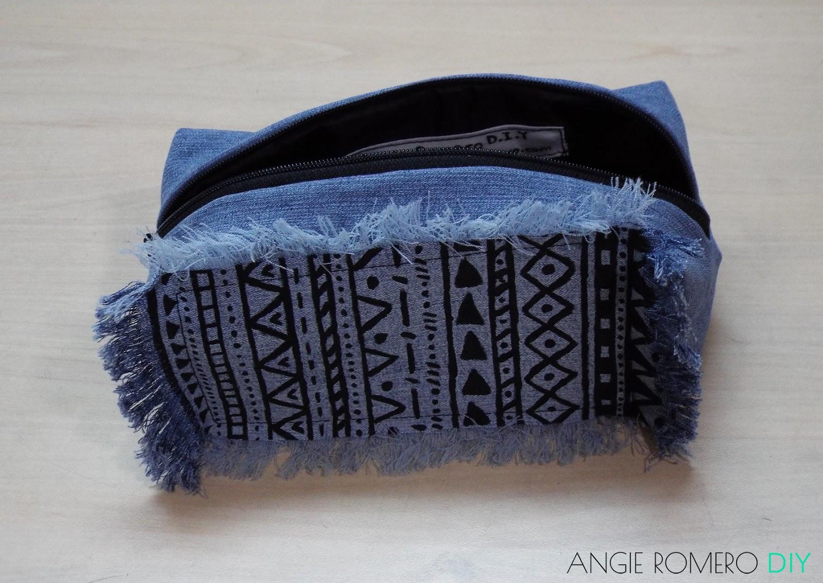 DIY - cosmetiquera o bolsa de maquillaje en jean reciclado y fácil de hacer