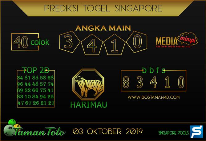 Prediksi Togel SINGAPORE TAMAN TOTO 03 OKTOBER 2019