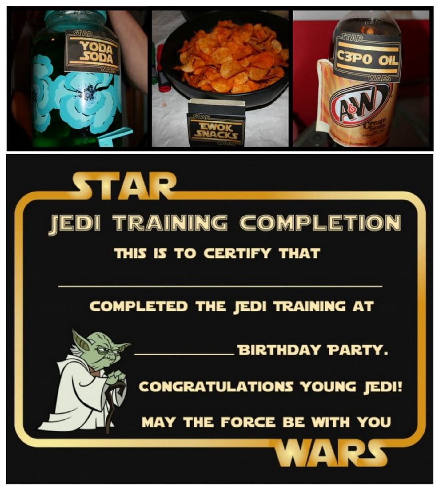 star wars party free printable food cards and certificate