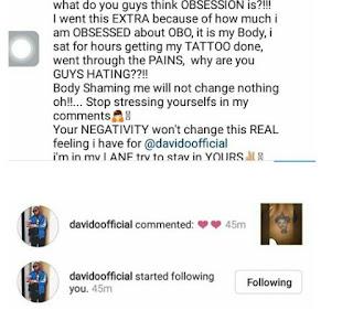 Davido Follows Girl Who Tattooed His Album Logo On Her Chest