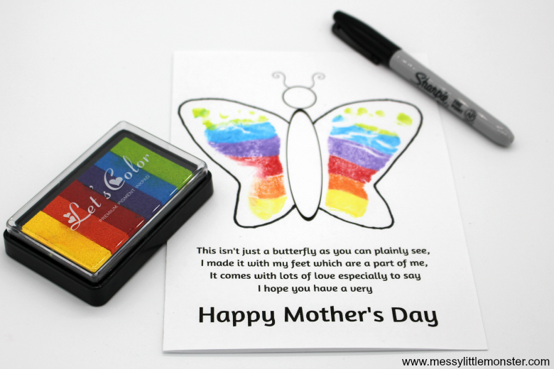 footprint butterfly poem for mother's day from babies, toddlers and preschoolers