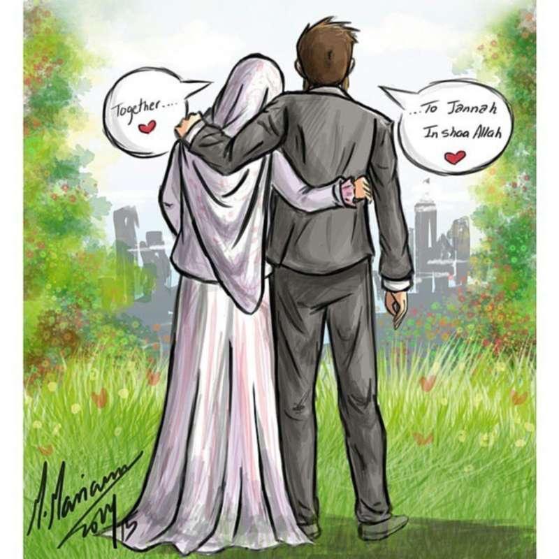 90 Gambar Animasi Kartun Pasangan Hijab Cikimm Com