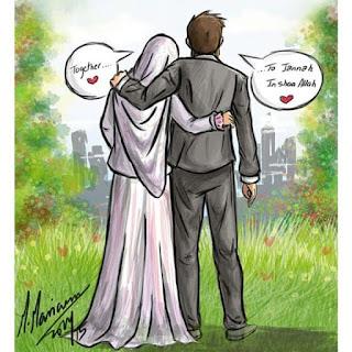 kartun pasangan remaja muslim dan muslimah berjilbab mesra